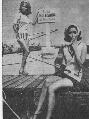 1964 Miss Florida World, and her friend took time out to test the waters before the start of the 1965 pageant in Cape Coral, which was part of he city's July 4 extravaganza.