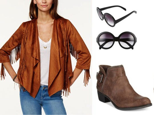 55 mm Round Retro Sunglasses, $12, Nordstrom.com, American Rag Fringed Faux Suede Waterfall Front Jacket, on sale $29.99, Macys.com and American Rag Edee Ankle Booties, on sale $59.99, Macys.com (Handout)