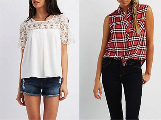 Lace Yoke Pleated Blouse, $22.99 and Tie Front Sleeveless Plaid Top, $21.99, CharlotteRusse.com (Charlotte Russe)