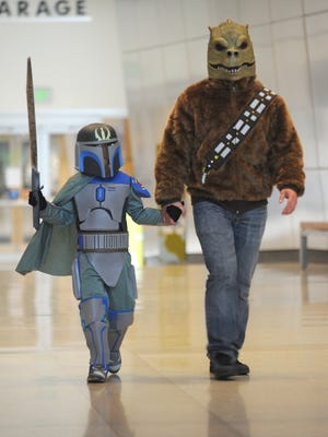 A father and son attended a Star Wars event at the Indiana State Museum