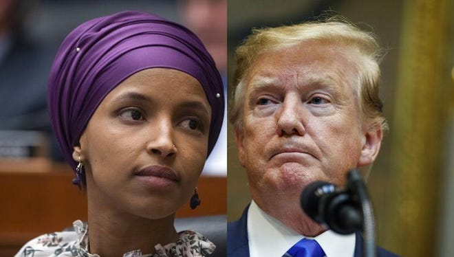 Rep. Ilhan Omar, D-Minn., left, and President Donald Trump