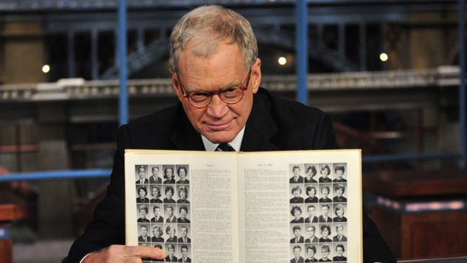 """David Letterman points to his Broad Ripple High School yearbook photo during a 2009 episode of """"Late Show."""""""