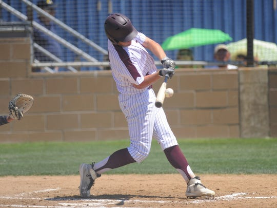 De Leon shortstop Kevin Yeager (8) collects one of his three hits during the Bearcats' 11-1, five-inning win against New Deal in Game 1 of the Region I-2A semifinal series at Stamford on Friday, May 25, 2018.