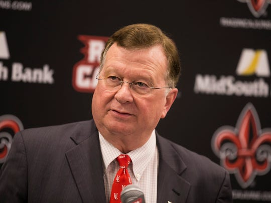 UL president Joseph Savoie address the media after the November 2016 announcement of Scott Farmer's resignation as athletic director.