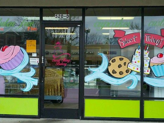 Cheryl Jenkins painted this sweet cartoon on the windows at Sweet Thing Bakery in Lebanon.