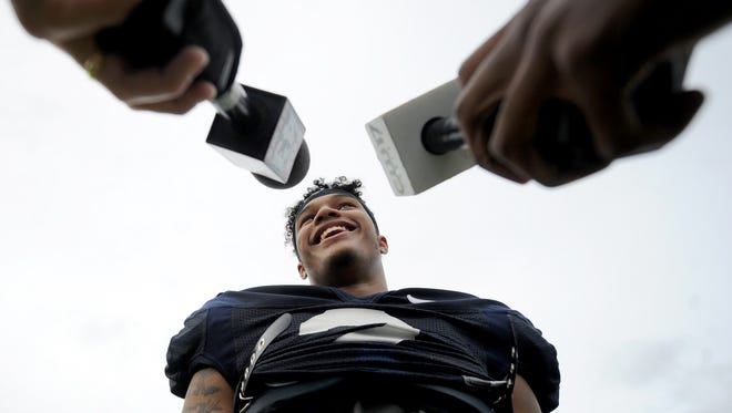 Marcus Allen, safety for Penn State, talks to the media following a practice at Fernandina Beach High School on Tuesday, Dec. 29, 2015. The team is practicing in preparation for the TaxSlayer Bowl, which will be played against Georgia in Jacksonville on Jan. 3, 2016.