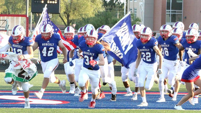 Look for the Moberly Spartans to march onto the field Friday night at Dr. Larry K. Noel Spartan Stadium with vigorous determination to keep their 2020 season record undefeated when they engage against Kirksville as part of the school district's celebration of homecoming this week. Among the Spartan seniors shown running onto the field at the start of their Sept. 4 home game are Dominic Stoneking (far left), Jarrett Kinder (#42), Jack Davidson (#31), Will Gregory (#22) and No. 6 Will LaRue.