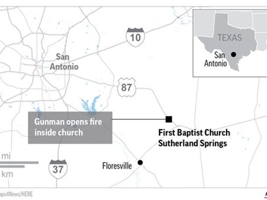 Map locates church shooting in Sutherland Springs,