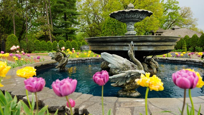 The Windsor Court Fountain is filled and flowing as the staff of gardeners are busy preparing Munsinger Gardens and Clemens Gardens for visitors in May of 2011.