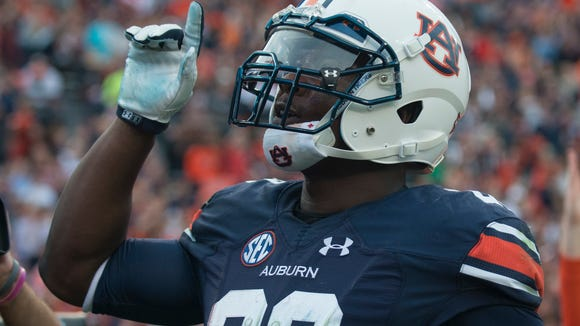 Auburn Tigers running back Jovon Robinson (29) celebrates after scoring a touchdown during the NCAA football game between Auburn and Idaho on Saturday, Nov. 21, 2015, at Jordan-Hare Stadium in Auburn, Ala.
