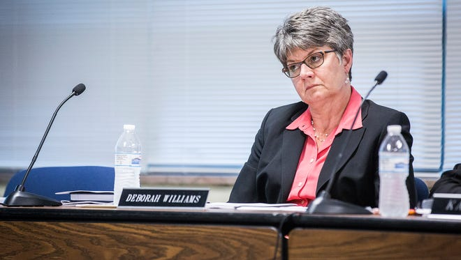 School board CTO Deborah Williams attends a meeting at the Anthony Administration Building Tuesday.