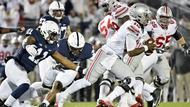 Penn State's Brandon Bell (11) was far more of a force than expected in upsetting the Ohio State Buckeyes. He made a career-best 18 tackles after missing the previous four games to injury. The Big Ten named him its Defensive Player of the Week.
