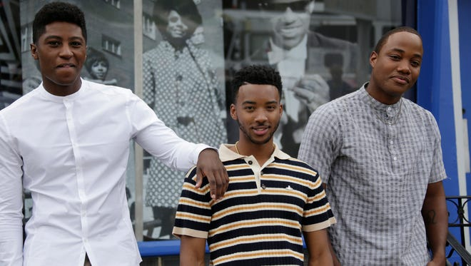 Cast members from the movie 'Detroit' Joseph David-Jones, left, poses with Algee Smith, and Leon Thomas III, as they stop by the Motown Museum in Detroit Sunday July 23, 2017. 'Detroit', the drama from Oscar-winning director Kathryn Bigelow, will have its world premiere at the Fox Theatre in Detroit on Tuesday. It opens at theaters in limited release July 28 and at 2,000-plus theaters August 4. Mandi Wright/Detroit Free Press