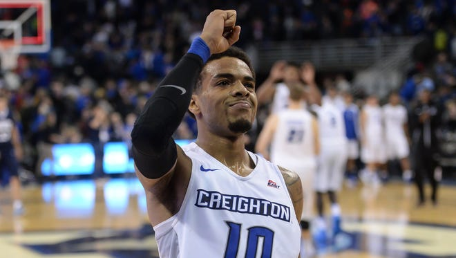 Dec 17, 2016; Omaha, NE, USA;  Creighton guard Maurice Watson Jr. (10) acknowledges the students after the game against the Oral Roberts at CenturyLink Center Omaha. Creighton defeated Oral Roberts 66-65.