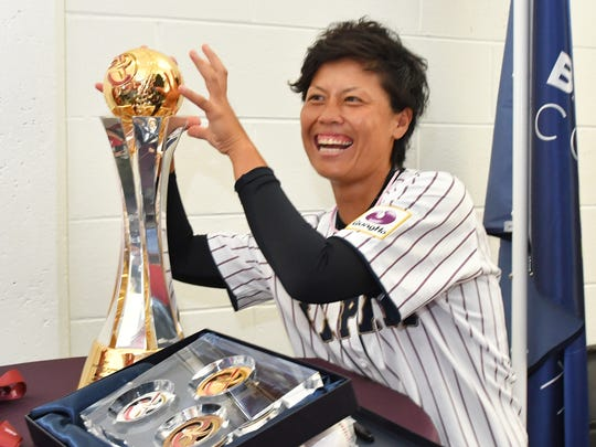 She's got her eyes on the prize. Ayami Sato, pitcher for Japan, is considered the world's best female baseball player, according to Baseball America. She is making a humorous pose near the 2018 trophy. Japan has won the championship for the last five years. Scenes from the Tuesday, August 21 press conference for the 2018 WBSC Women's Baseball World Cup.12 teams from around the world will compete in the 10 day tournament at the USSSA Space Coast Stadium in Viera, Fl. This is the first time that a world championship has been held in the United States.
