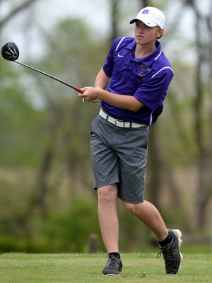 Hagerstown's Ben Tinkle follows his tee shot while playing in the Wayne County Golf Tournament on May 7, 2016, at Highland Lake Golf Course in Richmond.