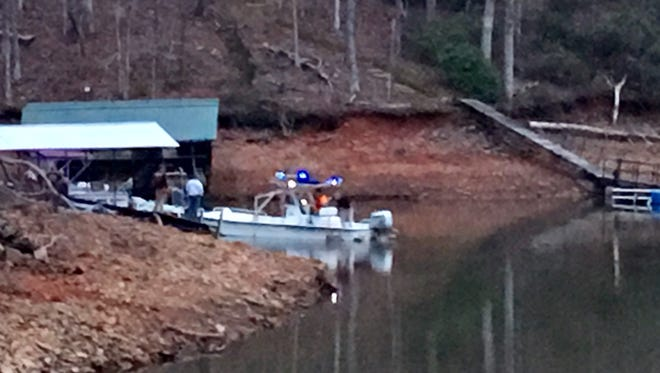 Anderson County Technical Rescue Team searches Lake Hartwell for a missing man Tuesday evening.