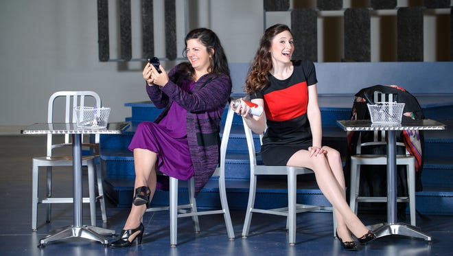 """Karen Estrada (left) and Kathryn Hausman are half the cast of Skylight Music Theatre's """"I Love You, You're Perfect, Now Change."""""""