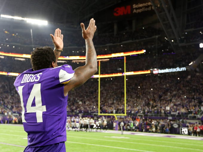 Minnesota Vikings wide receiver Stefon Diggs celebrates