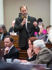Rep. Martin LaLonde, D-South Burlington, explains his proposed amendment Wednesday at the Statehouse to a bill that would prohibit teachers strikes.