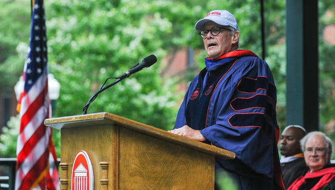 Tom Brokaw gives the address at the University of Mississippi commencement ceremony in the Grove, in Oxford, Miss., on Saturday, May 14, 2016.