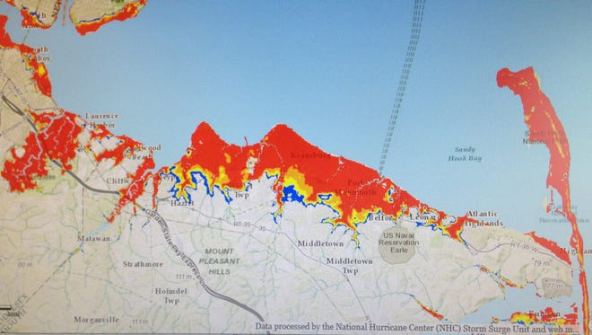 My photo of the map shows near-worst case storm surge flooding in the Bayshore area during a hypothetical Category 3 hurricane