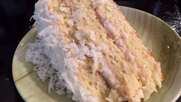 Homemade coconut cake is among desserts served at Public Greens.