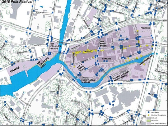 A map of the area where the Folk Festival will be held.