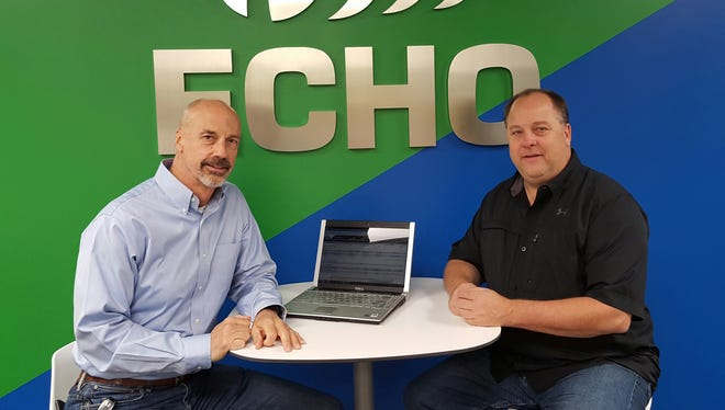 From left, Dave Buschner, regional vice president and Mark Ervin, vice president of Rochester intermodal, at Echo Global Logistic's Henrietta site.