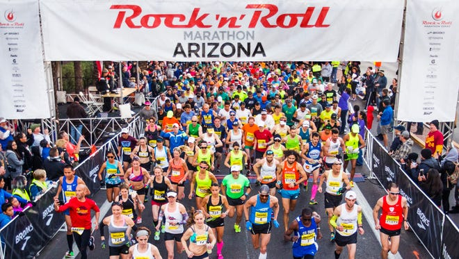 Runners start the Rock 'n' Roll Marathon Arizona in Phoenix, Sunday morning, January 17, 2016.