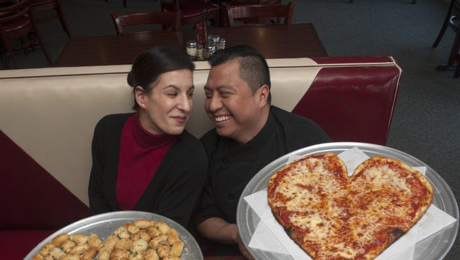 Chef Gelacio Morales and Lauren Echevarria, who work together at Forno, are thrilled with the response to Gelacio's hand crafted heart-shaped pizzas.