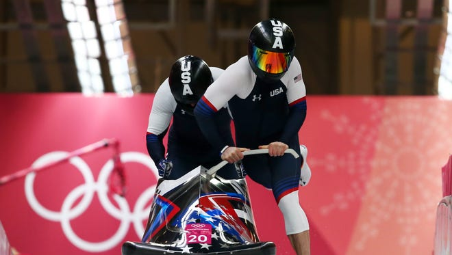 Codie Bascue and Samuel Mcguffie of the United States slide during two-man Bobsleigh heats on day nine of the PyeongChang 2018 Winter Olympic Games at Olympic Sliding Centre on February 18, 2018 in Pyeongchang-gun, South Korea.