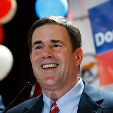 Republican gubernatorial nominee Doug Ducey thanks his supporters during a post-primary election party on Tuesday.
