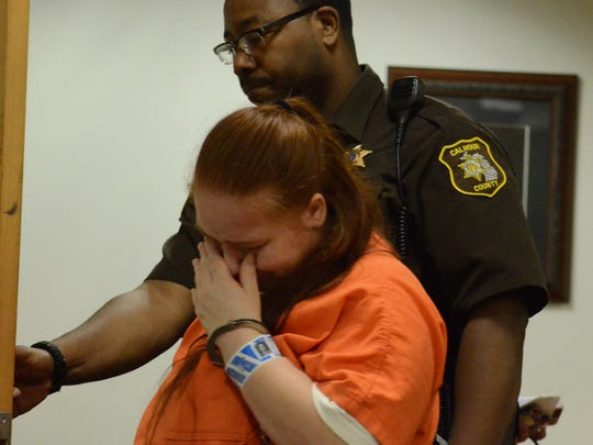 Megan Schug is returned to the Calhoun County jail following testimony during a preliminary hearing Tuesday.