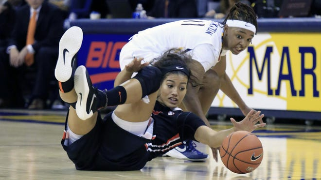 Oregon State's Kolbe Orum (left) battles for a loose ball with Marquette's Allazia Brockton during the first half Thursday in Milwaukee.
