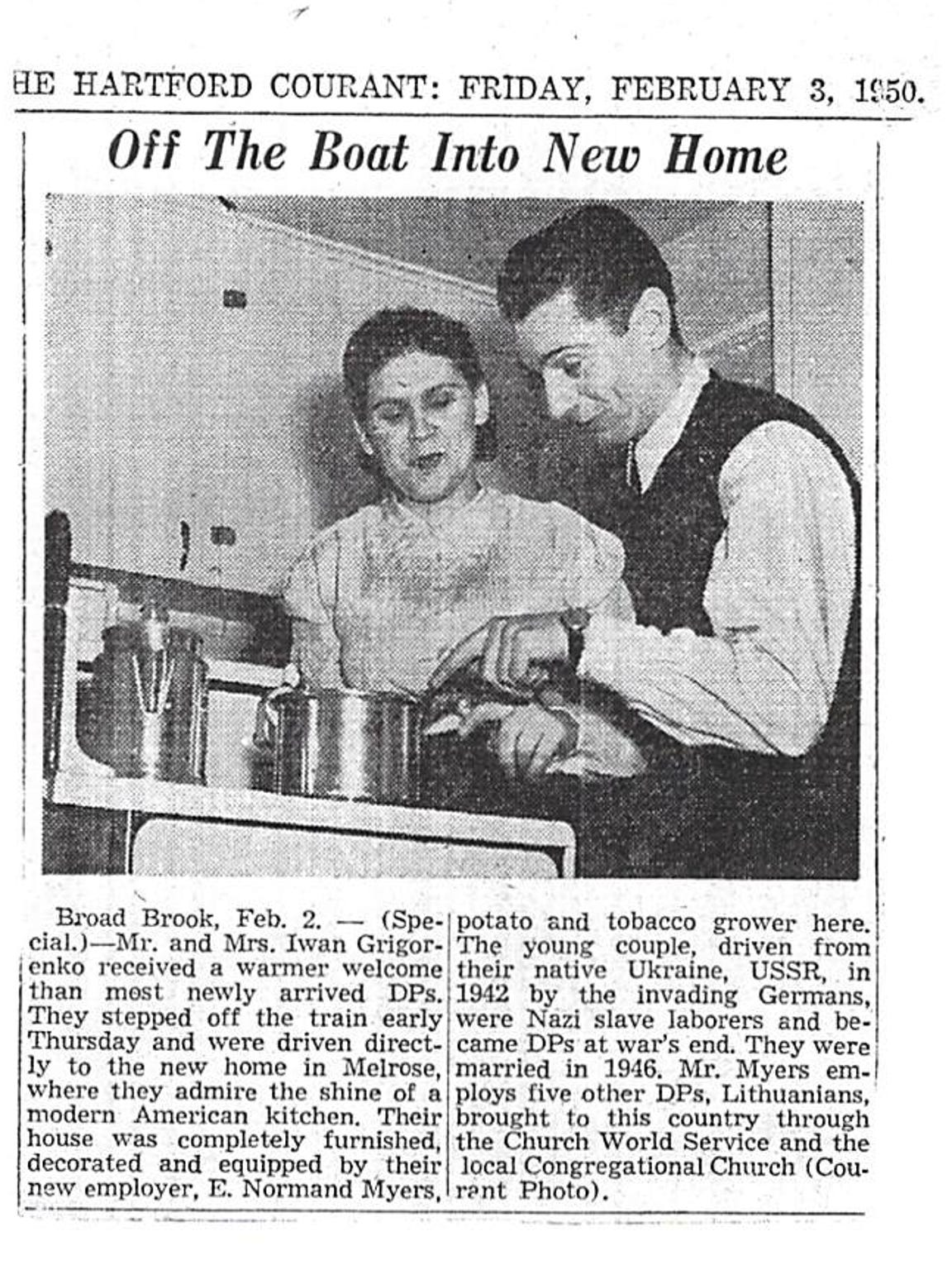 A Hartford Courant article about Nina and her husband