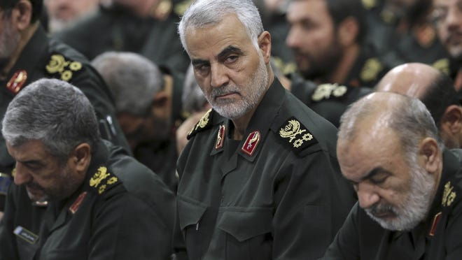 President Donald Trump on Thursday came out and disclosed one of Iranian Revolutionary Guard Gen. Qassem Soleimani's (center) alleged plots: to blow up a U.S. embassy.