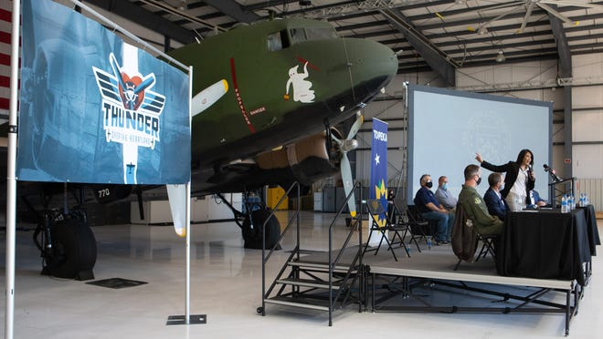 Mayor Michelle De La Isla speaks Tuesday morning during a news conference announcing the Thunder Over the Heartland air show, which will coincide with the 25th anniversary of Country Stampede. The festival and air show are expected to take place the last weekend of June 2021 in Topeka.