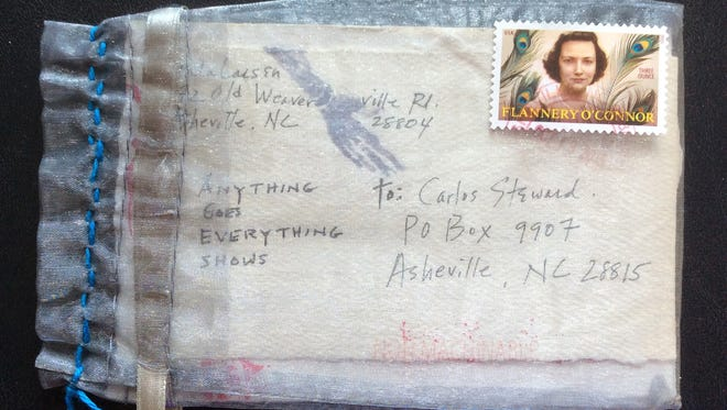 Mail art created in Asheville for a show at The Courtyard Gallery.
