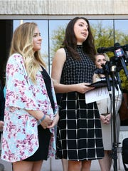 Artists Breanna Koski and Joanna Duka (right) are challenging Phoenix's anti-discrimination ordinance, Duka talks about their case following oral arguments at the Arizona Court of Appeals on Apr. 23, 2018 in Phoenix, Ariz.