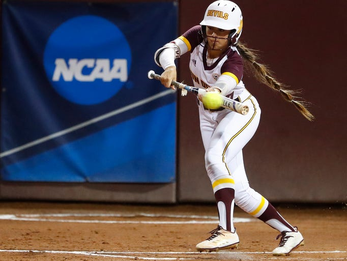 ASU's Taylor Becerra (26) attempts a bunt in the first