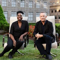'Saturday Night Live' regular Leslie Jones and host Tom Hanks spend a moment together before Saturday's show.