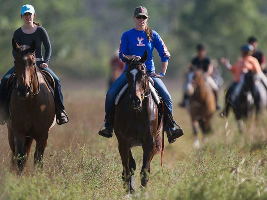 More than 50 riders took part in the annual Saddle Up for St. Jude horseback trail ride Sunday at Endless Trails in North Fort Myers.