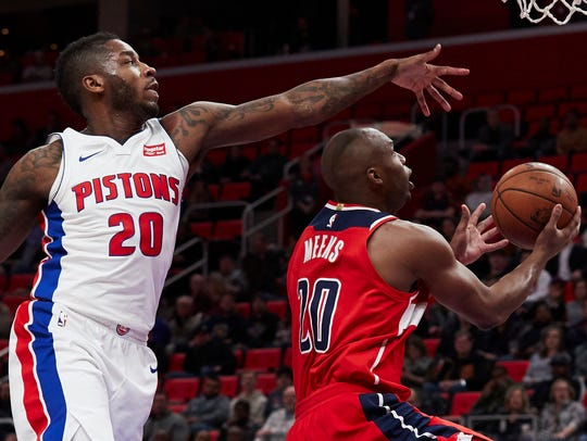 Wizards guard Jodie Meeks (20) shoots the ball past