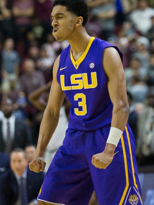 LSU guard Tremont Waters (3) reacts after hitting a three point shot with .7 seconds left to go ahead of Texas A&M during the second half of an NCAA college basketball game, Saturday, Jan. 6, 2018, in College Station, Texas. (AP Photo/Sam Craft)