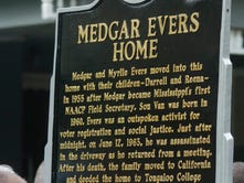 The new Mississippi Freedom Trail Marker at the Medgar Evers Home Museum in Jackson honors slain civil rights leader Medgar Evers.