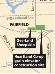 A map of Overland Sheepskin headquarters and the construction site of Heartland Co-op's grain elevator.