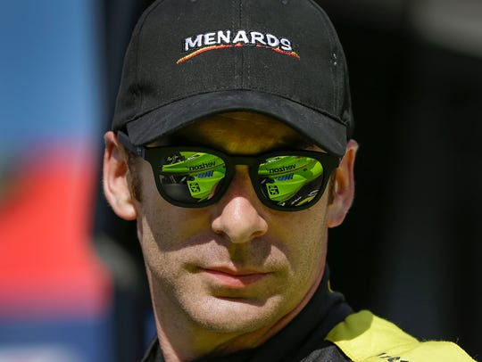 Team Penske IndyCar driver Simon Pagenaud (22) reacts
