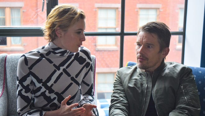 """Greta Gerwig and Ethan Hawke discuss """"Maggie's Plan"""" on May 4 in New York City."""