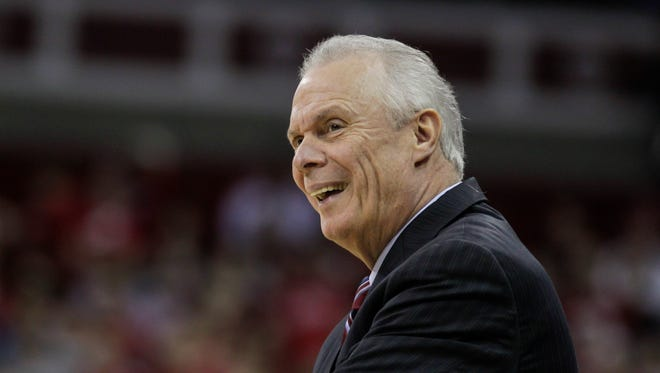 Wisconsin coach Bo Ryan looks to an official during during the first half of an NCAA college basketball game against Prairie View A&M on  Nov. 25 in Madison.